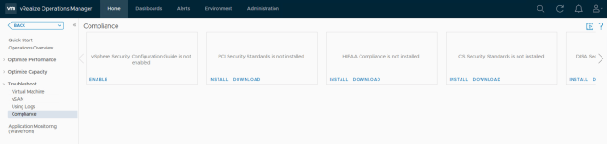 vrops compliance home screen