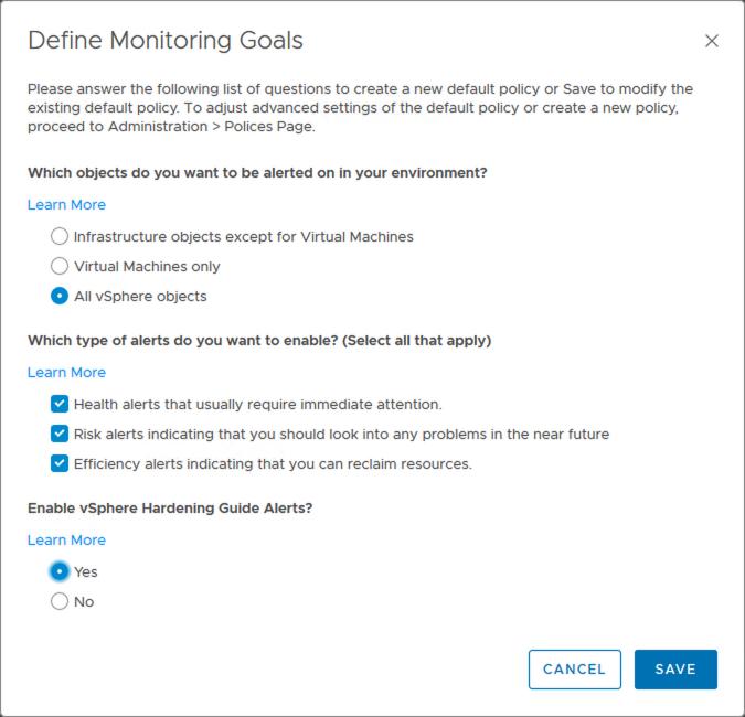 vrops monitoring goals