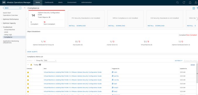 vrops populated compliance screen
