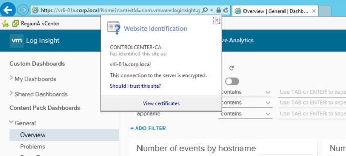 log insight validate certificate