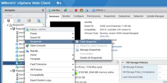 log insight upgrade snapshot