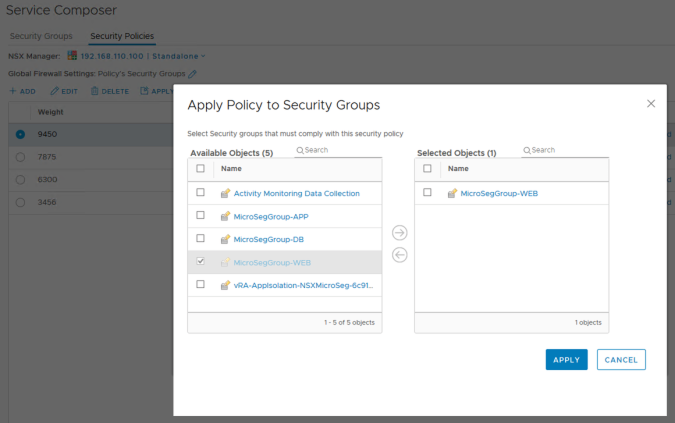 nsx policy to security group