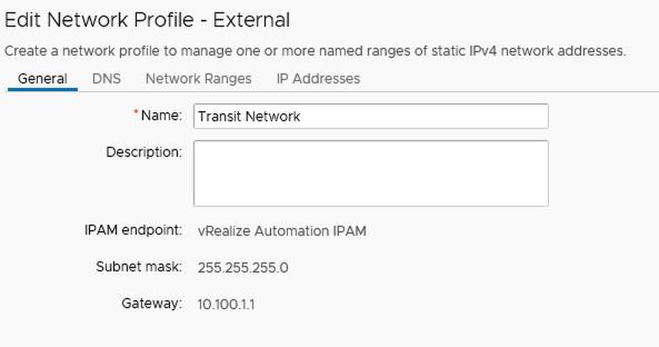 vra external network profile