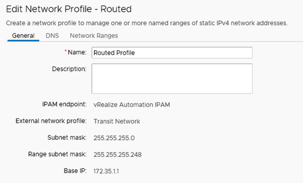 vra routed network profile