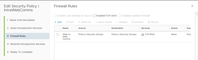 NSX intra web tier security policy