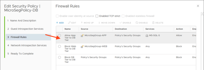 nsx security policy
